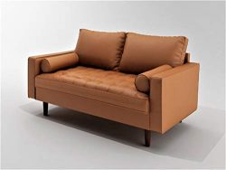 Container Furniture Direct S5453-L Orion Mid Century Modern PU Leather Upholstered Living Room L ...