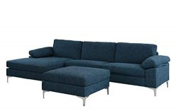 Large 108.2″ inch Sectional Sofa with Ottoman, L-Shape Couch with Chaise (Dark Blue)