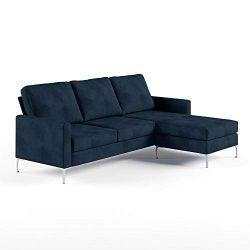 Novogratz DA037SEC-BL Chapman Sectional Chrome Legs, Blue Sofa