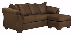 Ashley Furniture Signature Design – Darcy Contemporary Microfiber Sofa Chaise – Café