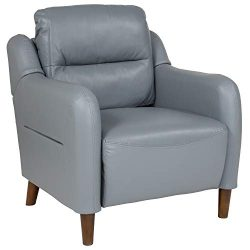 Flash Furniture Newton Hill Upholstered Bustle Back Arm Chair in Gray Leather