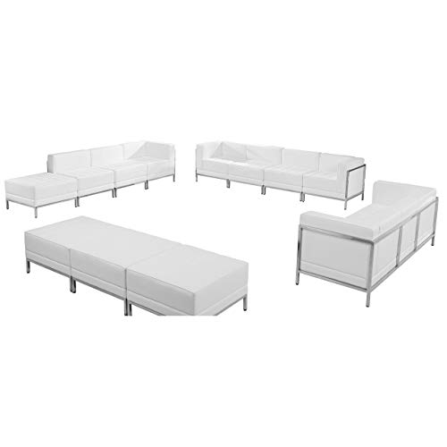 Flash Furniture HERCULES Imagination Series Melrose White Leather Sofa, Lounge & Ottoman Set ...