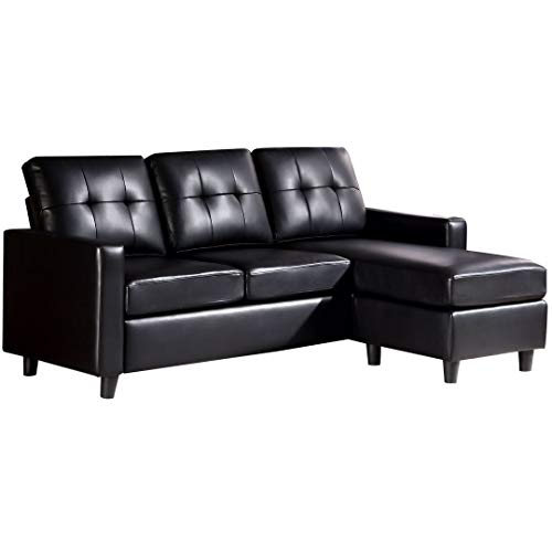 HONBAY Convertible Sectional Sofa Couch Leather L-Shaped Couch with Modern Faux Leather Sectiona ...