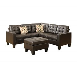 Poundex Bobkona Claudia Bonded Leather 4Piece SECTIONAL with Ottoman Set in Espresso