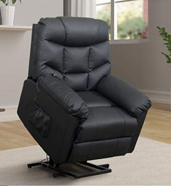 Power Lift Chair Recliner for Elderly Living Room Chair with Remote Control (Black)