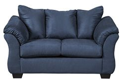 Ashley Furniture Signature Design – Darcy Contemporary Microfiber Loveseat – Blue