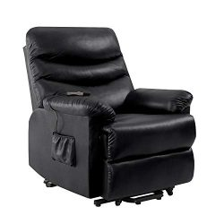 Domesis Olathe Wall Hugger Power Recline and Lift Chair in Black Renu Leather