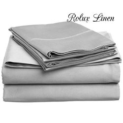 Rolux linen Queen Sleeper Sofa Bed Sheet Set – Silver Grey Solid 100% Cotton 800 Thread Co ...