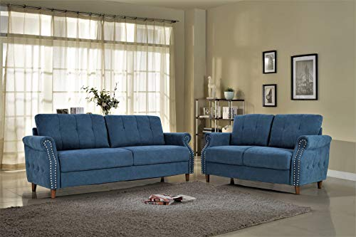 US Pride Furniture S5466-2PC Living Room Set, Sofa and Loveseat, Ocean Blue