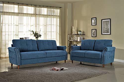 US Pride Furniture S5466-2PC Living Room Set, Sofa and Loveseat, Ocean Blue
