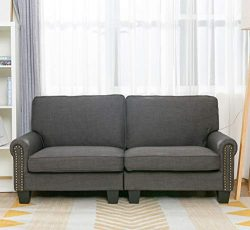 70 Inch Sofa for Living Room,Gray Upholstered Soft and Easily Assemble Couch and Sofa Loveseat,b ...