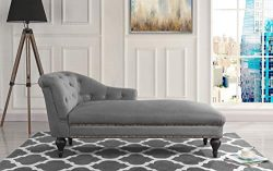 Elegant Velvet Chaise Lounge for Living Room or Bedroom (Grey)