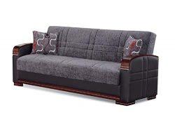 BEYAN SB 2018 Montana Modern Two-Tone Upholstered Convertible Sleeper Sofa with Storage, 88̸ ...