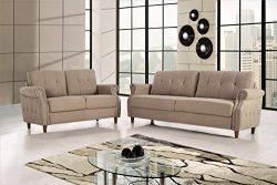 US Pride Furniture S5465-2PC Living Room Set, Sofa and Loveseat, Camel
