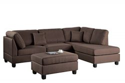Poundex F7608 Bobkona Dervon Linen-Like Left or Right Hand Chaise Sectional with Ottoman Set, Ch ...
