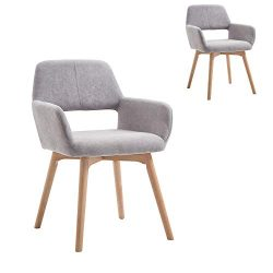 Lansen Furniture (Set of 2) Modern Living Dining Room Accent Arm Chairs Club Guest with Solid Wo ...