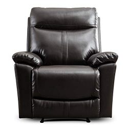 CANMOV Padded Durable Bonded Leather Recliner Chair for Living Room, Ergonomic Single Seat Recli ...