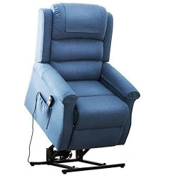 Electric Power Lift Recliner Chair Traditional Comfortable (Brushed) Linen Fabric Lounge for Eld ...
