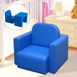 Festnight 2-in-1 Kids Table and Chair Set, PVC Multifunctional Convertible Children Sofa