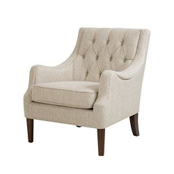 Madison Park Qwen Accent Chairs – Hardwood, Birch, Faux Linen Living Room Chairs – C ...