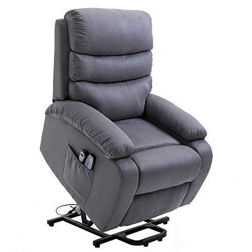 Homegear Microfiber Power Lift Electric Recliner Chair with Massage, Heat and Vibration with Rem ...