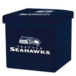Franklin Sports NFL Seattle Seahawks Storage Ottoman with Detachable Lid 14 x 14 x 14 – Inch