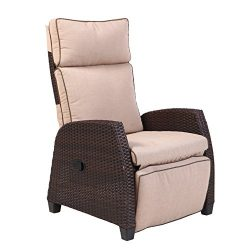 Grand Patio MOOR Adjustable Reclining Chair with Thick Cushion and Side Table, Weather-Resistant ...