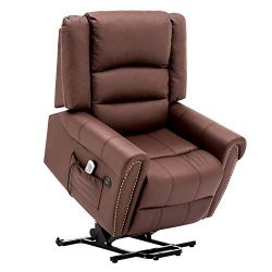 Electric Power Lift Recliner Chair Dual TUV Motor Infinite Position Lay Flat Sleeper PU Leather  ...
