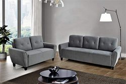 US Pride Furniture S5461-2PC Living Room Set, Sofa and Loveseat, Grey