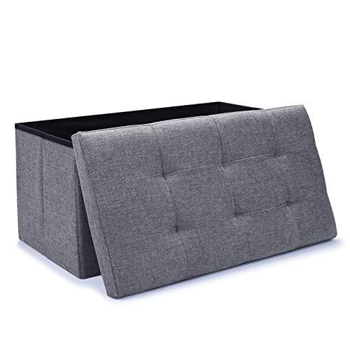 WoneNice Linen Folding Storage Ottoman Bench, Storage Chest Footrest Padded Seat, 30 x 15 x 15 i ...
