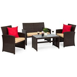 Best Choice Products 4-Piece Wicker Patio Furniture Set w/ Tempered Glass, 3 Sofas, Table, Cushi ...