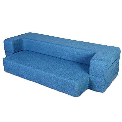 MAXDIVANI 10 Inch Portable Travel Sofa / Guest Bed Fire Resistant Cover Tri-Folding Memory Foam  ...