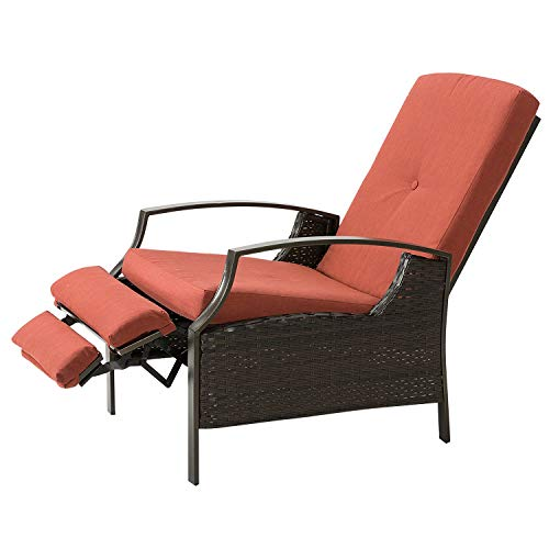 HollyHOME Patio Wicker Adjustable Recliner Chair, Relaxing Lounge Chair with Thick Spunpoly Cush ...