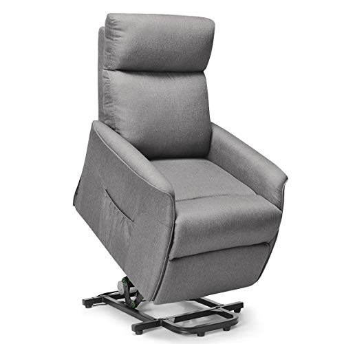 Giantex Power Lift Massage Recliner Chair for Elderly, Soft Fabric Sofa Chair, Heavy Padded Cush ...