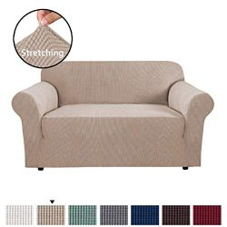 H.VERSAILTEX 1 Piece Sofa Cover for Loveseat Machine Washable Jacquard Spandex Sofa Slipcover Fu ...