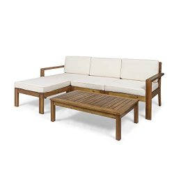 Great Deal Furniture Makayla Ana Outdoor 3 Seater Acacia Wood Sofa Sectional with Cushions, Teak ...