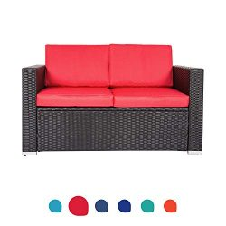 Peach Tree Wicker Loveseats Patio Sectional Corner Sofa All Weather Rattan Outdoor Thick Cotton  ...