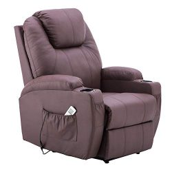 Electric Power Recliner Massage Ergonomic Chair Vibrating Heated Lounge Remote PU Leather 7050 ( ...