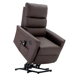 Electric Power Lift Recliner Chair TUV Lift Motor PU Leather Sofa Lounge Handle Corded Remote Co ...