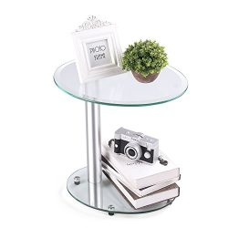 Rfiver Oval Coffee Table Small Side Table End Table, Save Space Corner Table for Living Room Bed ...