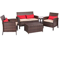 SUNCROWN Outdoor Patio Furniture 5-Piece Conversation Set All-Weather | Thick, Durable Cushions  ...