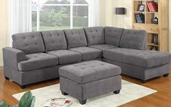 Sectional Sofa Set, LOKESI 3 Piece Corner Sofa Combination with Chaise Lounge for Living Room (Grey)
