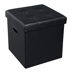 SONGMICS 15″ x 15″ x 15″ Storage Ottoman Cube / Footrest Stool / Puppy Step /  ...