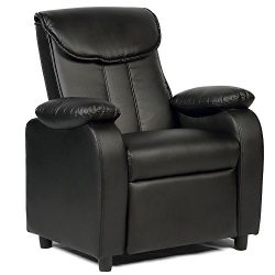 GentleShower Padded PU Leather Kids Recliner with Overstuff Armrest/Headrest, Contemporary Child ...