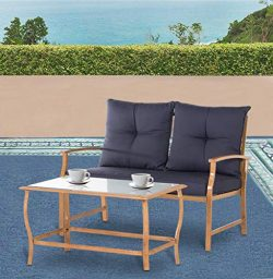 Solaura Patio Outdoor Furniture 2 Piece Loveseat Light Brown Coated Metal Frame Nautical Navy Bl ...