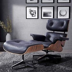 LAGRIMA Eames Lounge Chair with Ottoman, Mid Century Palisander Chair, 100% Grain Italian Leathe ...