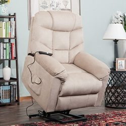 Harper&Bright Designs Power Lift Recliner Chair Upholstered Fabric with Remote Control for L ...