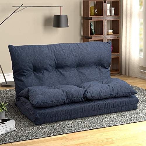 Adjustable Fabric Folding Chaise Lounge Sofa Chair Floor Couch Floor Gaming Sofa Chair(Navy Blue)