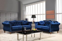 Container Furniture Direct S5365-2PC Carbon Velvet Upholstered Classic Chesterfield Sofa Set, 79 ...