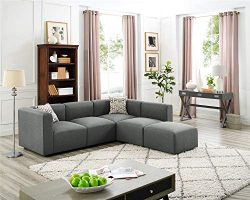 3 Seat Couches with Ottoman, Left Right Hand L-Shape Living Room Sofas Sectional Chaise Lounge